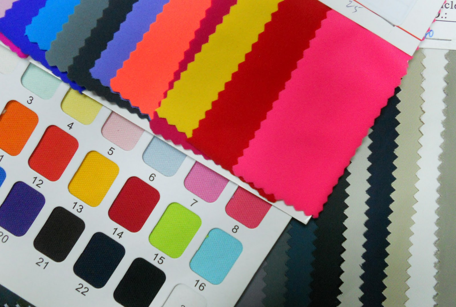 Fabric samples neon colors spandex nylon cotton