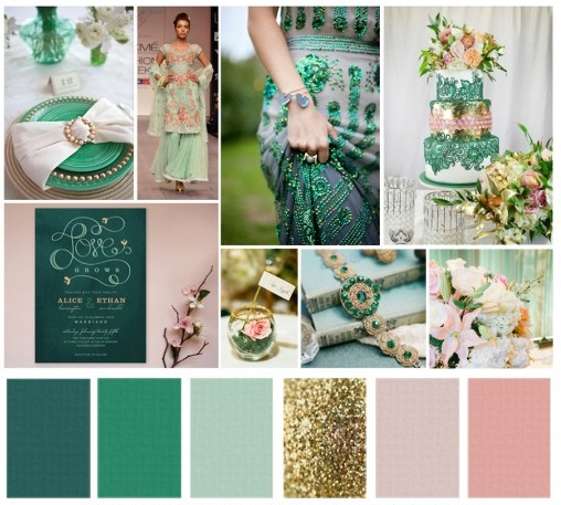 Colour Crush Emerald Green With Pink: Colours For Brides